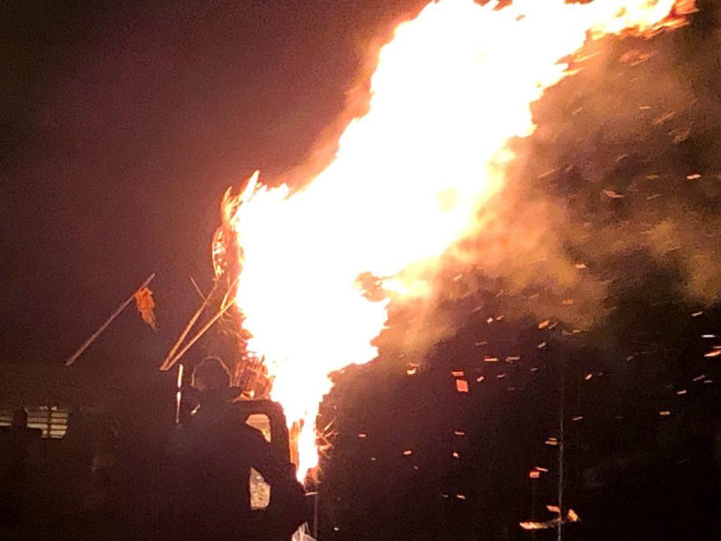 津南ランタン祭りのどんと焼き